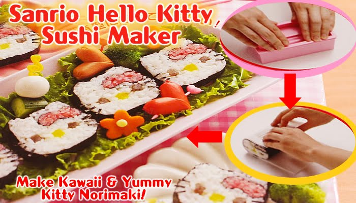 These cute Hello Kitty sushi can be made using a sushi maker.