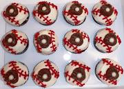 Wonderful baseball cupcakes with buttercream icing & chocolate baseball .