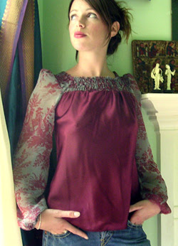 Satin Top with Bell Sleeves