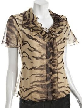 Sheer Tiger Print Blouse