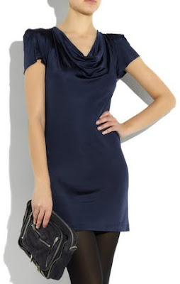 Cowl Neck Shoulder Padded Dress