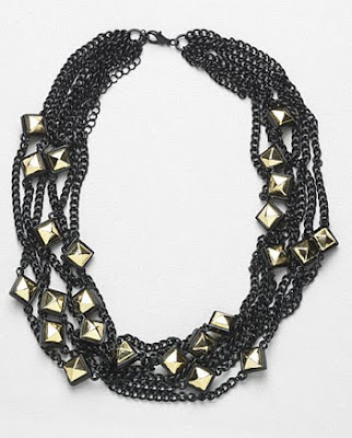 Black Chain Gold Stud Necklace
