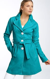 Blue Topstitched Trench