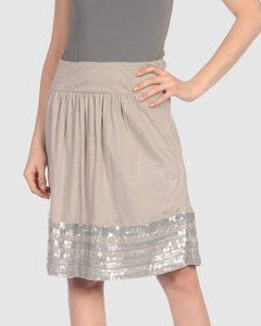 Sequin Hem Linen Skirt