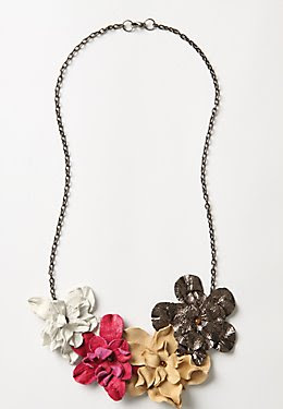 Leather Flower Statement Necklace