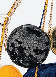 Reversed Sequin Round Bag with Chain Strap