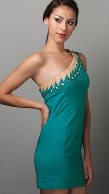 Studded One Shoulder Dress