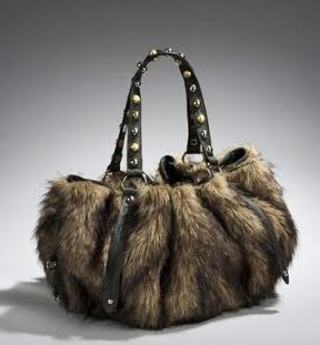 Studded Faux Fur Satchel