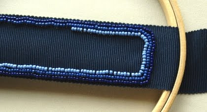 Bead embroidery on the frame