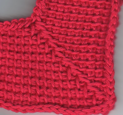 mitered Tunisian crochet