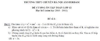 De thi Hoc ki I mon Toan lop 12 nam 2010-2011