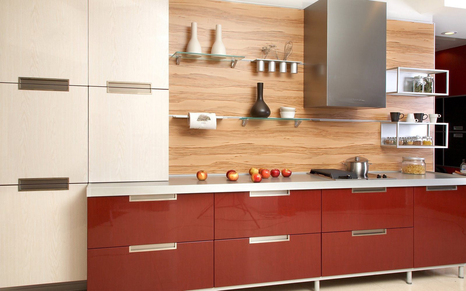 Luxury Home Interior Design Red Color Kitchen Design