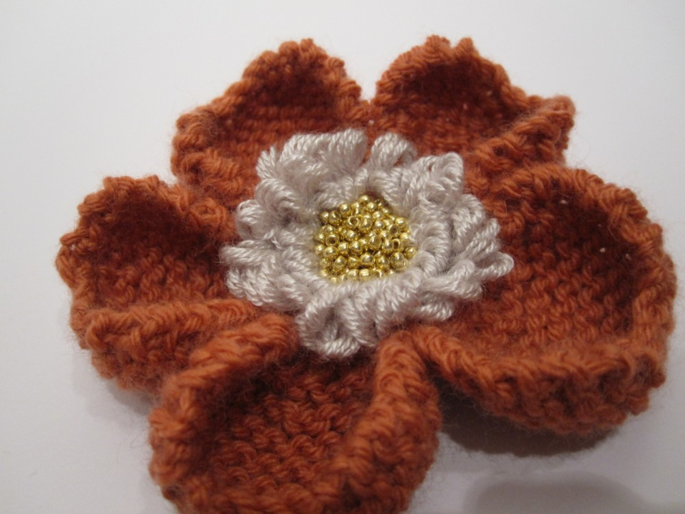 My athi: Hand knitted flower pattern is Featured in Etsy treasury