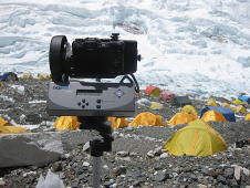 GigaPan Imager taking a panorama at Camp II on Mt. Everest