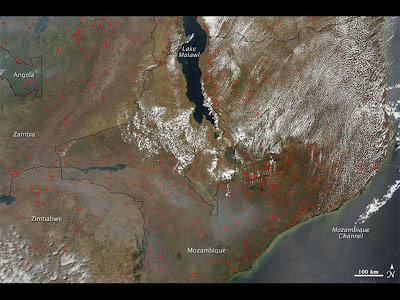 Fires around Lake Malawi in Africa