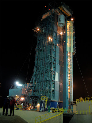 Wise is seen here being hoisted to the top of its United Launch Alliance Detla II rocket