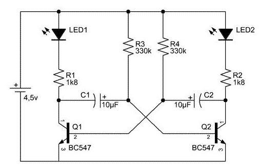 circuito oscilador astavel  oscilador funcionando