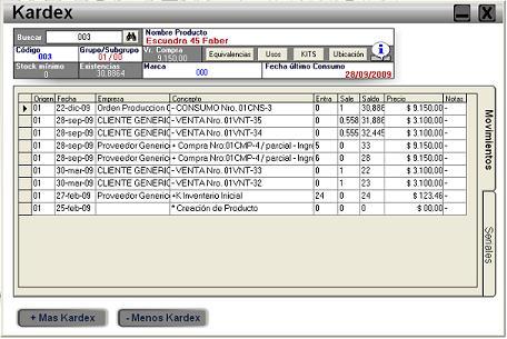Modelo Ficha de Kardex en Excel