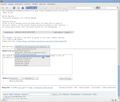 bugzilla.mozilla.org page with additioinal predefined comments