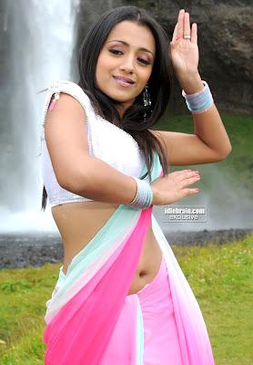 Actress Trisha Hot Navel Show In Saree