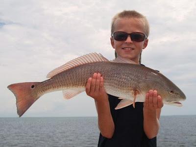 boy with redfish