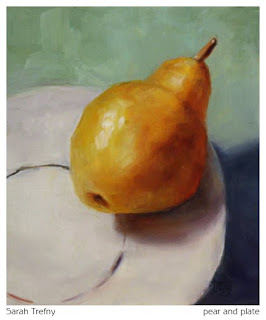 still life oil painting of yellow pear on white plate
