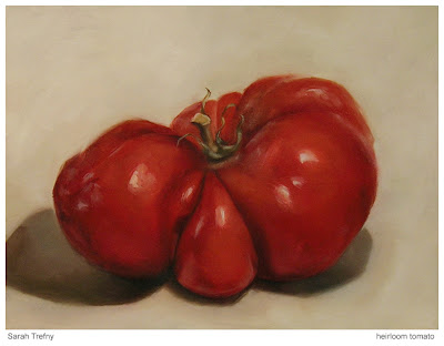 oil painting of heirloom tomato by Sarah Trefny