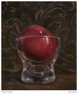 oil painting of plum in shot glass by Sarah Trefny