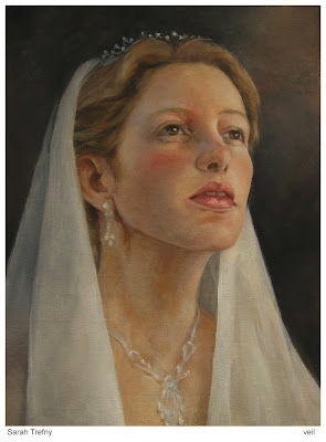 oil painting of a portrait of a woman in a veil by Sarah Trefny