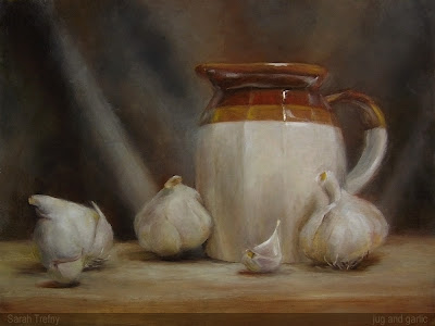 oil painting of jug and garlic cloves by Sarah Trefny