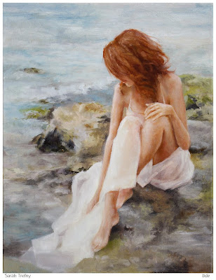 figure oil painting of woman by ocean rocks and tide pools by Sarah Trefny