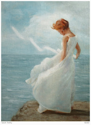 figure oil painting of young girl at the ocean by Sarah Trefny