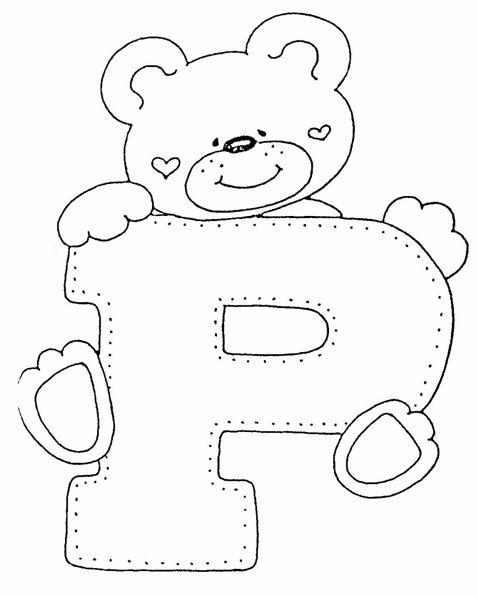 Alfabeto De Ursinhos Para Pintar Em Fraldas De Pano Bordar Em
