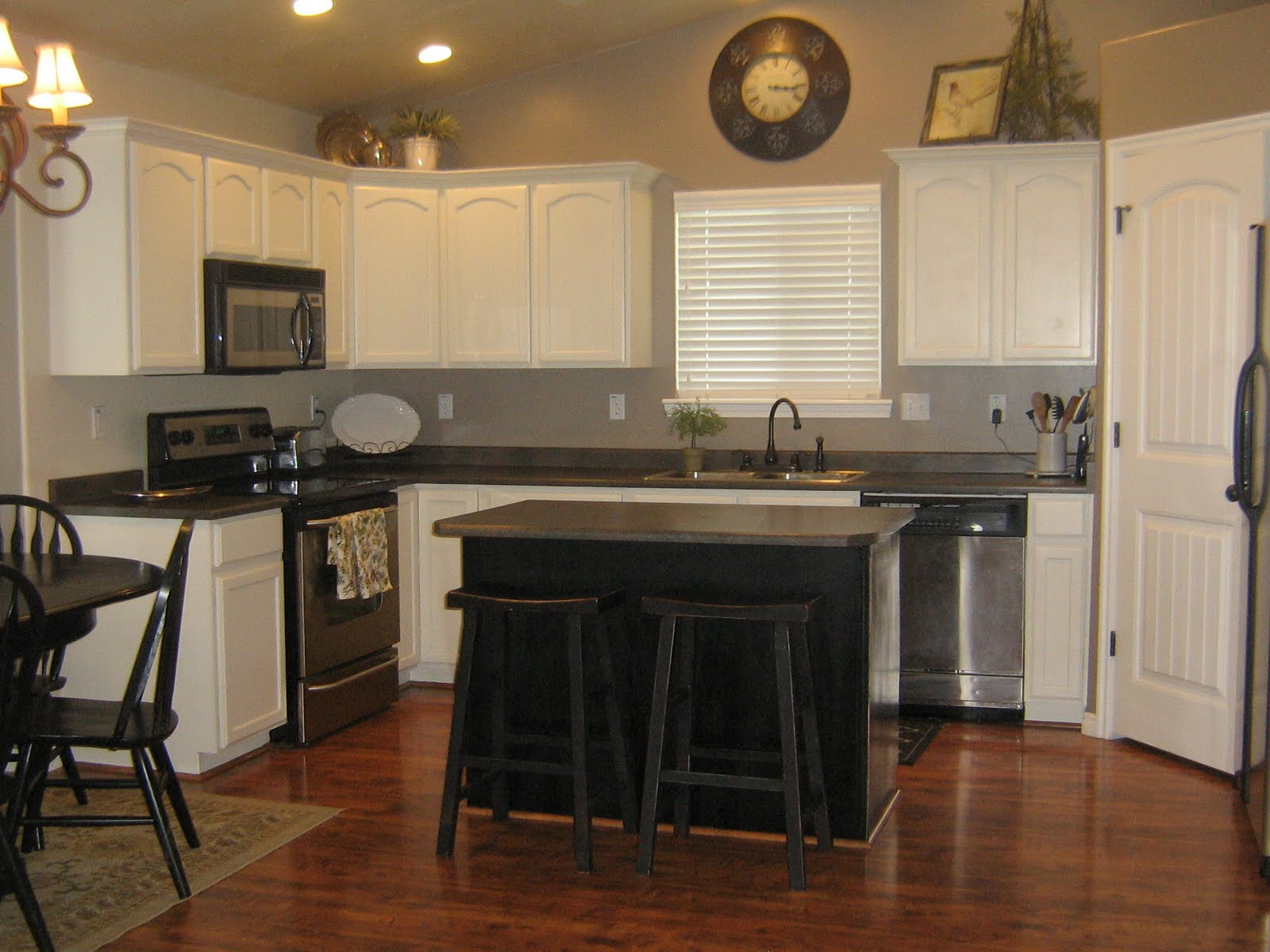 Remodelaholic white kitchen cabinets guest - White kitchen with dark island ...
