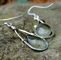 garnet sterling earrings