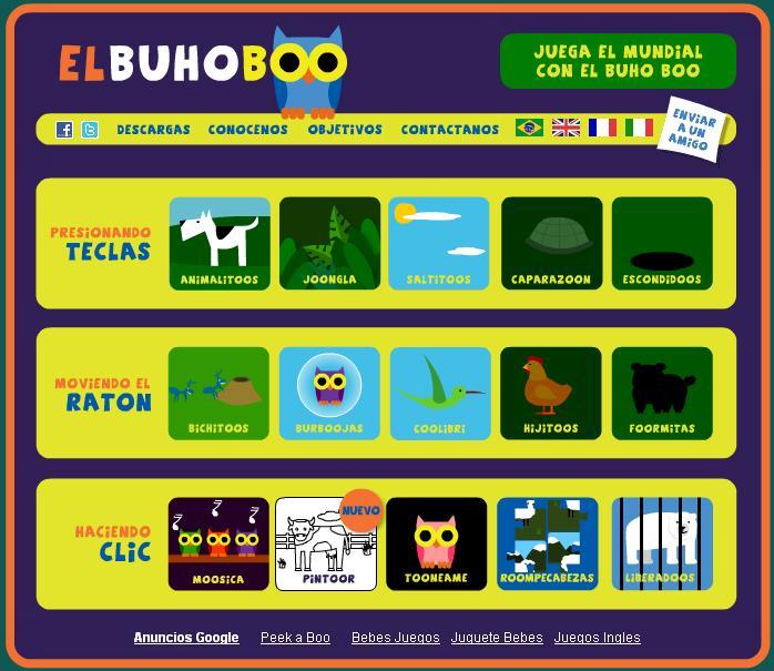 Juegos para niños en el Búho Boo
