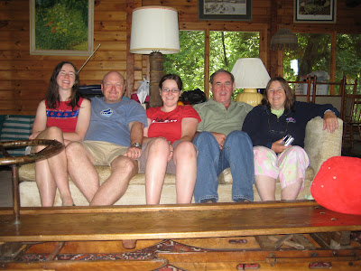 Miranda, Ralph, Amber, Arthur, Nanci in cottage