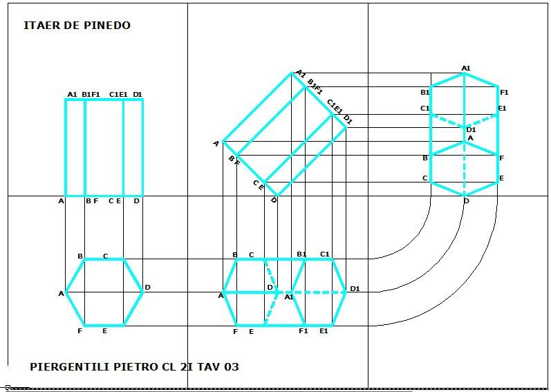 Disegno prisma a base esagonale for Piani di cabina di base di base