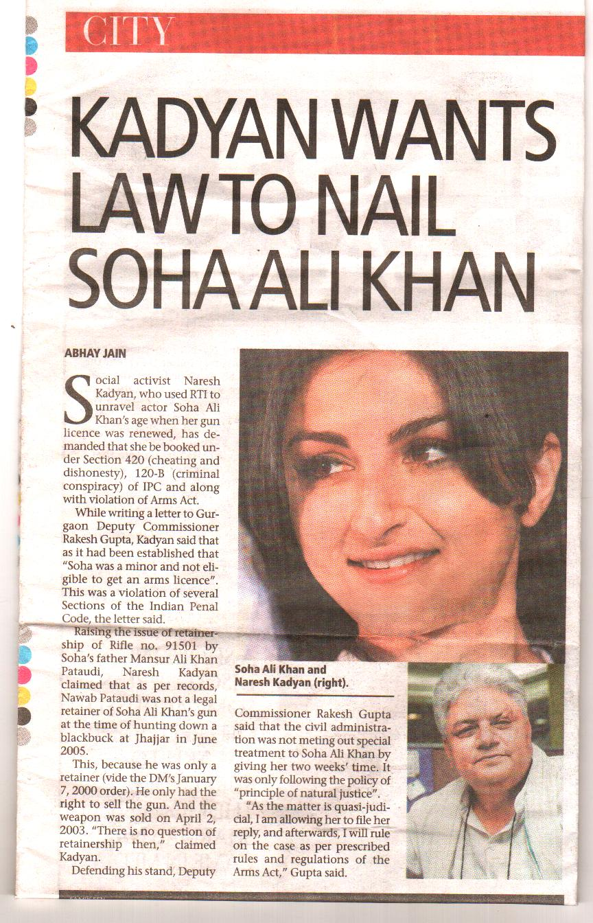 Naresh Kadyan views about Soha Ali Khan