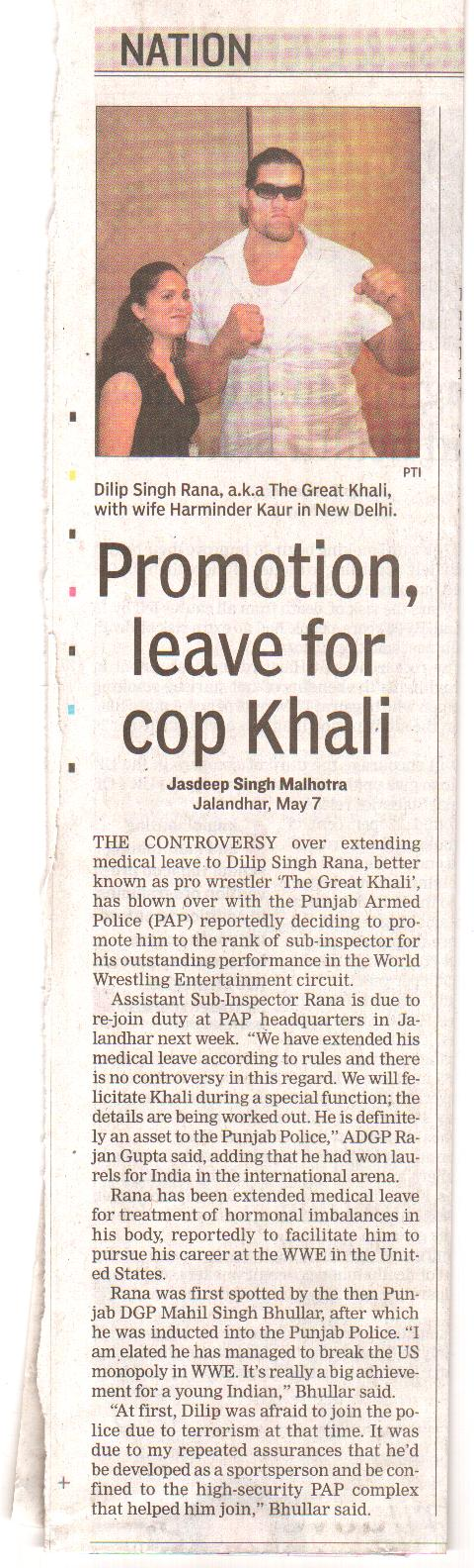 THE GREAT KHALI urf INSPECTOR DALIP SINGH RANA