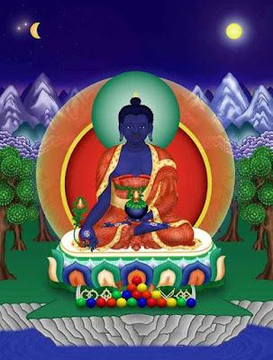 Blue medicine Buddha painting.
