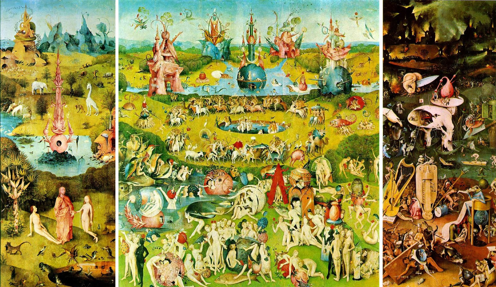 the vivid fictional scenes of triptych style in hieronymus bosch the garden of earthly delights Example research essay topic: dante inferno and the garden of earthly delights painted by hieronymus bosch, depicts many vivid fictional scenes in triptych style.
