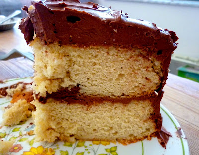 Food for Poems: Yellow Cake with Chocolate Sour Cream Frosting