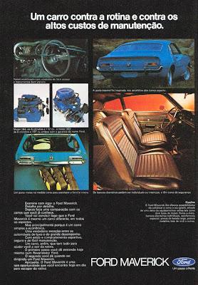 Folder do Ford Maverick demonstrado os motores 6 Cilindros e V8, interior painel e porta-malas.