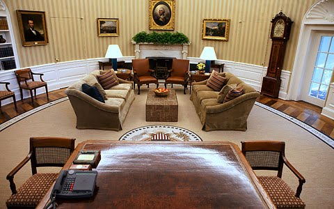 oval office coffee table. New Wallpaper, Couches And Coffee Table Were Installed As Well Recovering The Chairs Throughout Office. Artwork Clock Remain Same. Oval Office