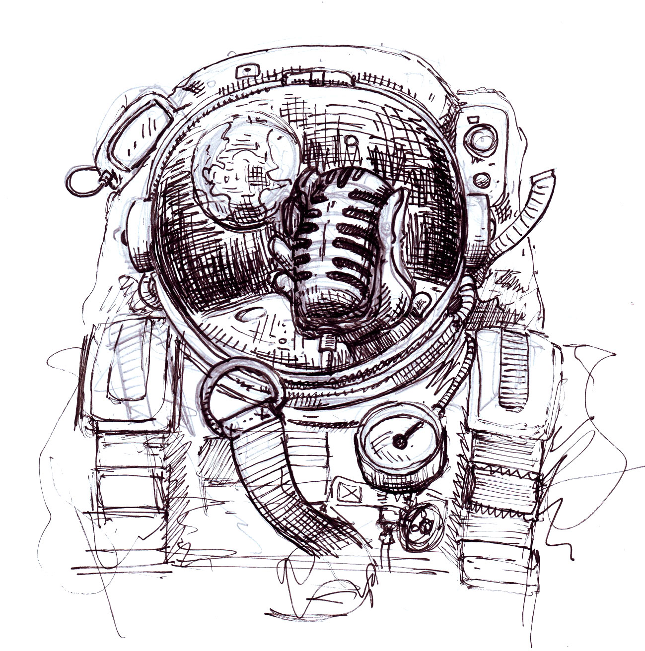 detailed drawings of astronauts - photo #44