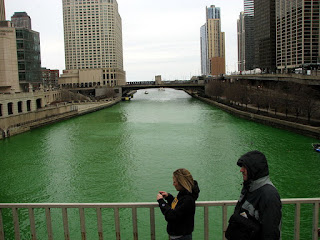 The Chicago River dyed green