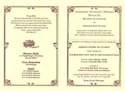 Contoh Kad Jemputan Majlis Perkahwinan | Joy Studio Design Gallery ...