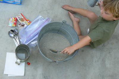all the ingredients we needed for making colored sand
