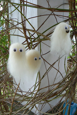 Cute hanging wool roving needle felted Halloween ghosts